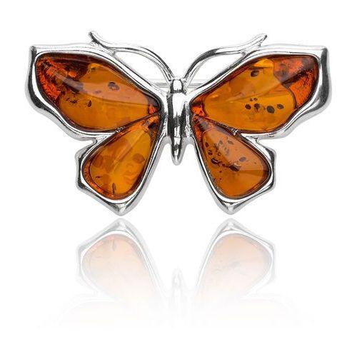 Srebrna broszka - bursztynowy motyl