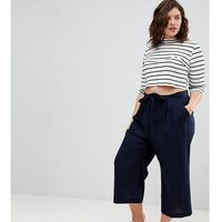Asos curve tailored linen culotte with tie waist - navy