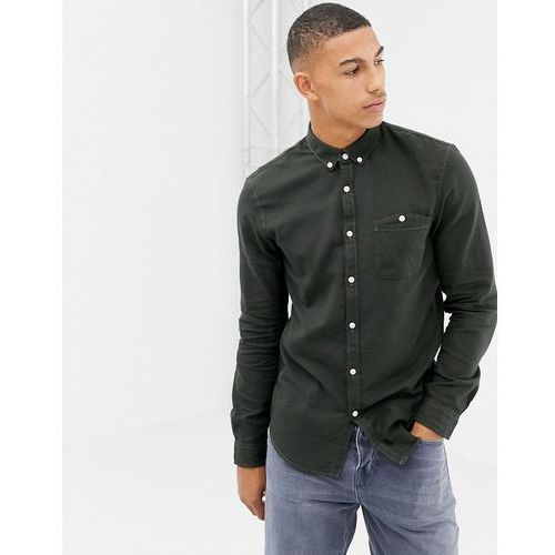 Tom tailor slim fit button down flannel shirt in green - green
