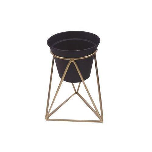 Osłonka na stojaku metalowym śr. 12 cm czarno-złota modern marki Tajemniczy ogród
