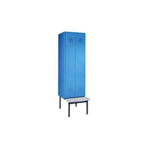 Szafka na ubrania z ławeczką u dołu,pełne drzwi, szer. przedziału 600 mm, 1 przedział marki Eugen wolf