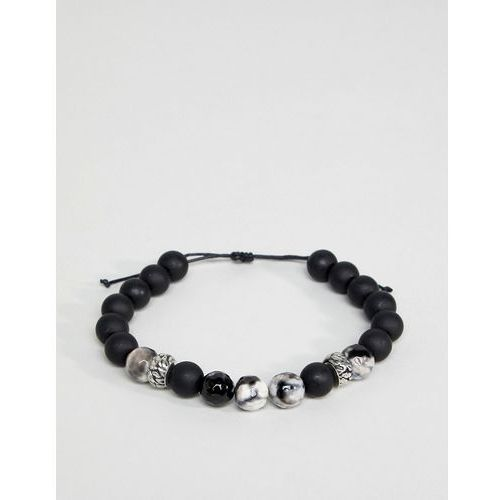 design black beaded bracelet with semi precious stones - black marki Asos