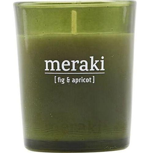 Świeca zapachowa fig & apricot mała w zielonym szkle marki Meraki