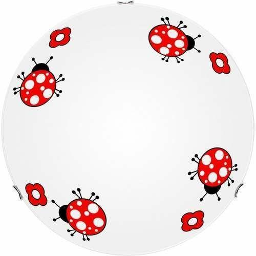 Lampa dla dziecka Biedronka - plafon Fly biały/ chrom 60W E27 40cm, 4554002