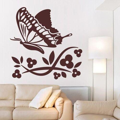 Wally - piękno dekoracji Naklejka kwiatki motyl 1312