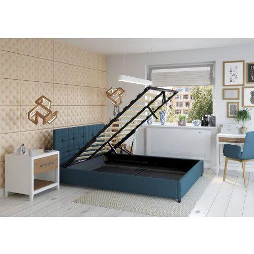 Łóżko 160x200 tapicerowane modena + pojemnik lazurowe tkanina marki Big meble