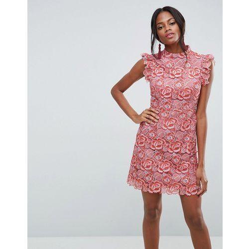 Asos lace frill sleeve mini dress - orange