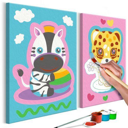 Artgeist Obraz do samodzielnego malowania - zebra & leopard (pink & blue)