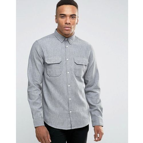 New Look Shirt With Long Sleeves And Grandad Collar In Regular Fit - Grey