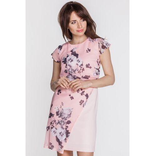 Różowa sukienka w kwiaty - EMOI, kolor różowy