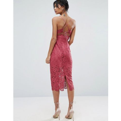 ASOS Lace Cami Midi Dress With Strappy Back - Pink