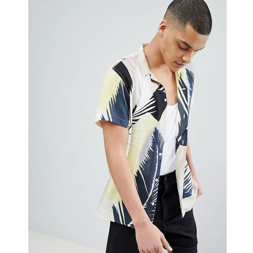 Selected Homme+ Shirt With All Over Print And Revere Collar - White, w 4 rozmiarach