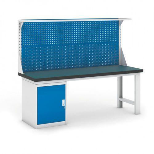 B2b partner Stół warsztatowy gb z szafką i panelem, 2100 mm