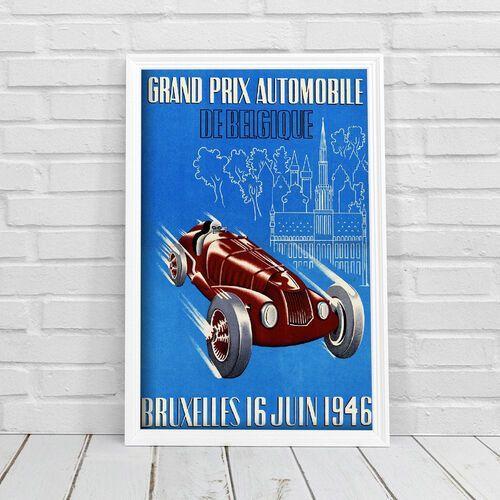 Plakat vintage plakat vintage grand prix belgijskiego wyścigu samochodowego marki Vintageposteria.pl