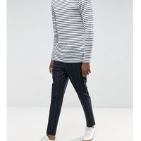 ASOS TALL Tapered Smart Trousers In Navy Pinstripe With Elasticated Waist - Navy