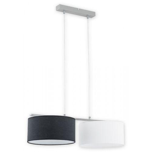 Lemir Lara O2762 W2 SZA + BIA + CZA lampa wisząca zwis 2x60W E27 szary mat / biały / czarny (5902082868217)