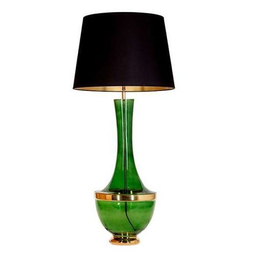 Nocna LAMPKA stojąca TROYA L232272257 4Concepts abażurowa LAMPA stołowa vintage czarna zielona (5901688145760)