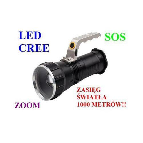 Profesjonalna Akumulatorowa Policyjna Latarka Szperacz (zasięg 1000m.!!) LED CREE + ZOOM + SOS...