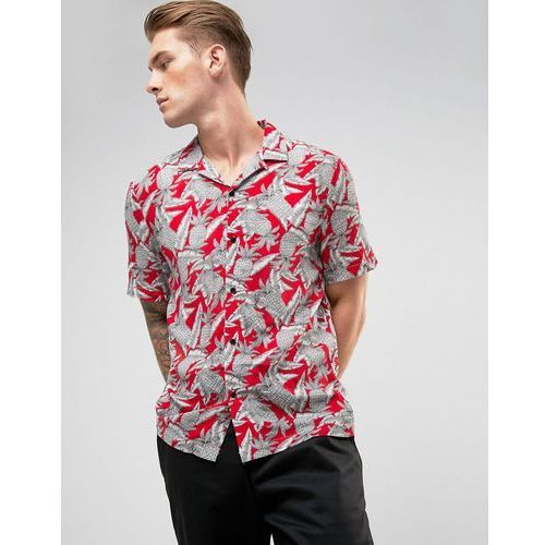 River island  revere collar shirt with pineapple print in red - red