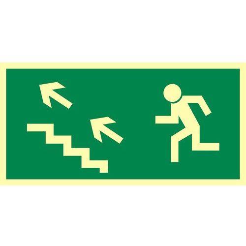 Kierunek do wyjścia drogi ewakuacyjnej schodami w górę w lewo marki Top design