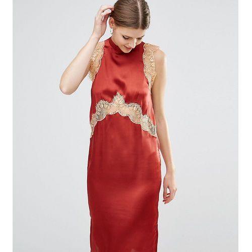 sleeveless satin column midi dress with lace inserts - brown, Asos tall