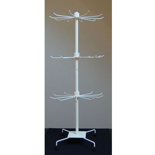 Obrotowy, 3 poziomowy, metalowy stojak do biżuterii - biały, model II, 01223