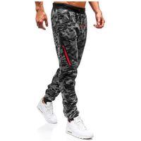 J.style Spodnie męskie dresowe joggery moro-grafitowe denley 55025