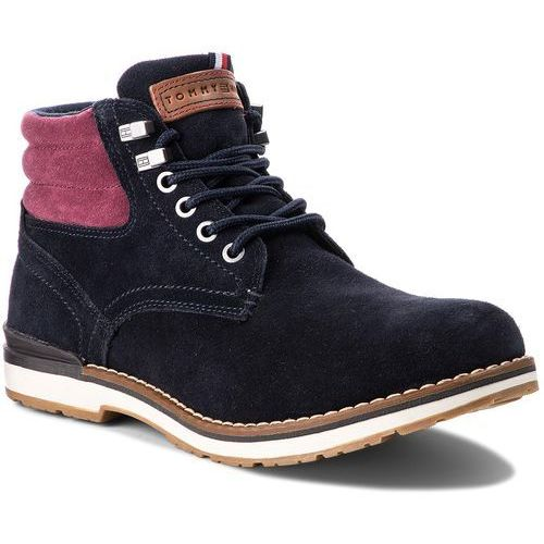 Trapery TOMMY HILFIGER - Outdoor Suede Boot FM0FM01748 Midnight 403, kolor niebieski