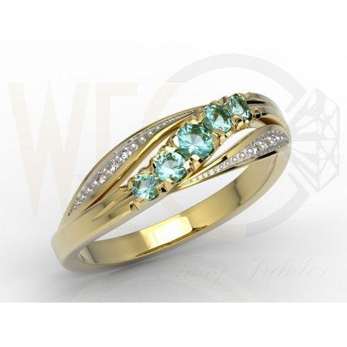 Węc - twój jubiler Pierścionek z żółtego złota z topazami i diamentami ap-4603z-r