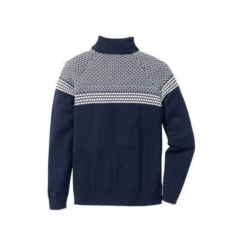 Bonprix Sweter z golfem regular fit ciemnoniebieski