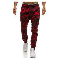 Spodnie joggery męskie moro-czerwone denley 0829, Athletic