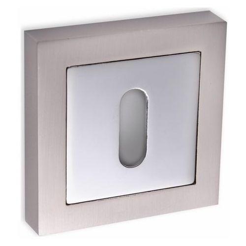 Szyld drzwiowy Kuchinox krótki kwadratowy na klucz satyna/chrom