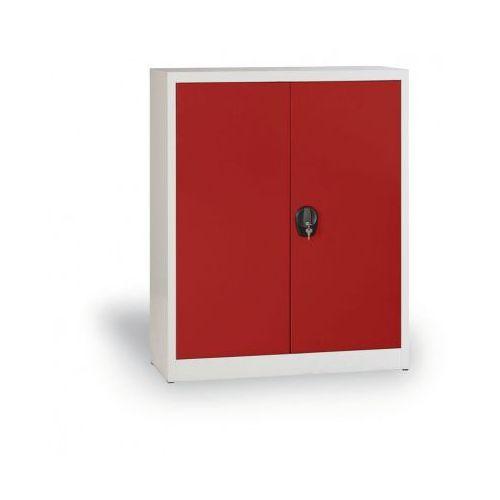 Szafa metalowa, 1150x1200x400 mm, 2 półki, szary/czerwony