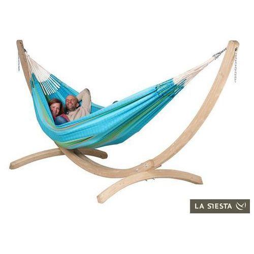 Zestaw hamakowy: hamak flora ze stojakiem barco, niebieski / turkusowy flh18bas20 marki La siesta