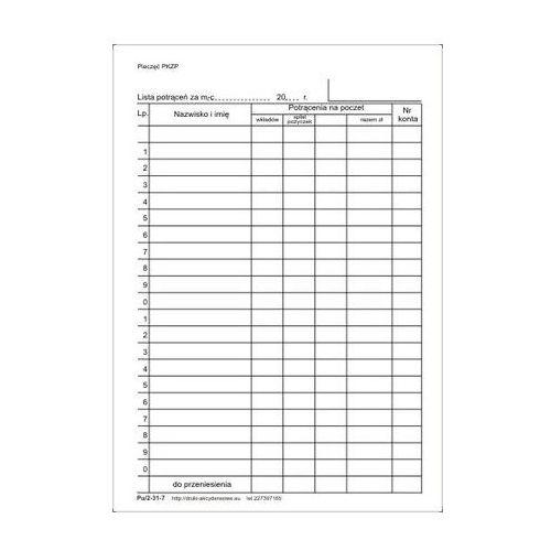 Firma krajewski Lista potrąceń [pu/2-31-7] (5907510471434)