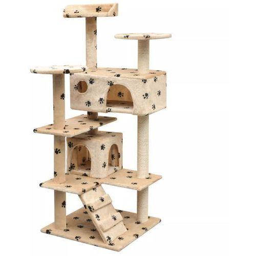 Vidaxl drapak dla kota, 125 cm, beżowy ze wzorem w kocie łapki (8718475522799)