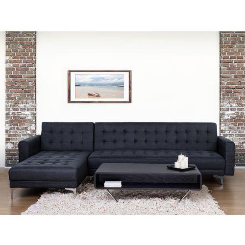 Sofa antracytowa - kanapa - tapicerowana - rozkładana - aberdeen od producenta Beliani