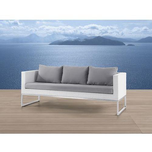 Sofa ogrodowa biała - Trzyosobowa - stal szlachetna i rattan - CREMA