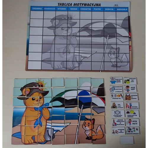 Bystra sowa Magnetyczna tablica motywacyjna morska przygoda w formie puzzli magnetyczna tablica motywacyjna morska przygoda puzzle