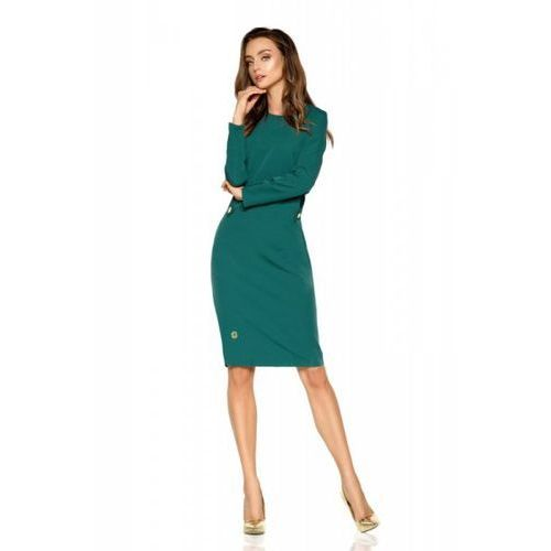 cbf3962c15 Lemoniade Elegancka sukienka biznesowa L274 ciemna zieleń