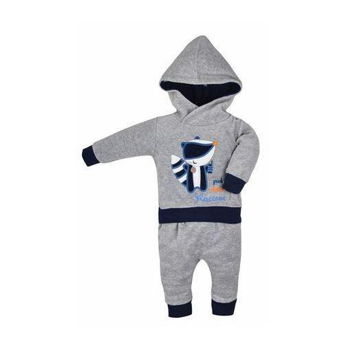 Bobas fashion Niemowlęcy 2-częściowy welurowy dres  roxy szaro-niebieska