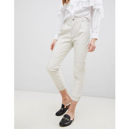 faux leather cropped trousers - cream, Glamorous, 38-40
