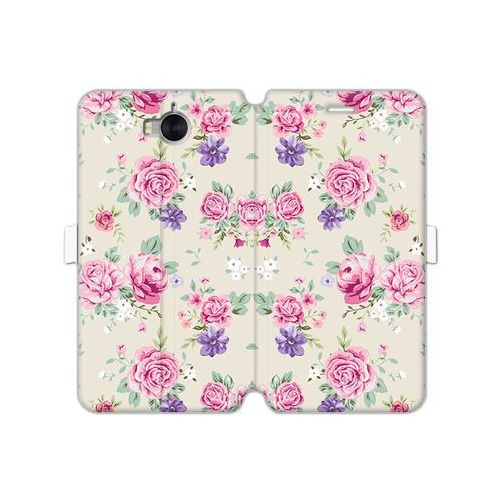 Huawei Y6 (2017) - etui na telefon Wallet Book Fantastic - pastelowe różyczki, kolor różowy