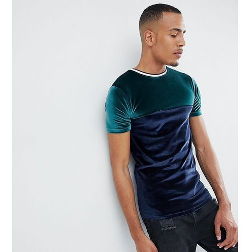 design tall muscle t-shirt in velour with contrast yoke and tipping - green, Asos, S-XXL
