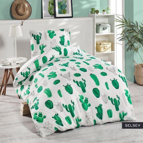 Asir Selsey komplet pościeli kaktusy 140x220 cm z poszewką na poduszkę 50x70 cm