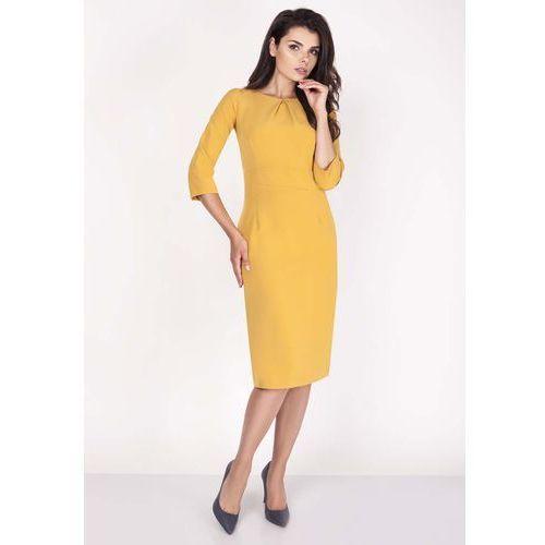 Żółta Sukienka Midi z Rękawem za Łokieć, w 6 rozmiarach