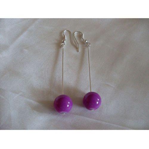 K-00082 Kolczyki fioletowymi kulkami ze szkła, kolor fioletowy