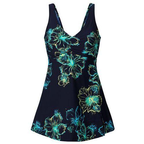 Bonprix Sukienka kąpielowa wyszczuplająca  ciemnoniebiesko-turkusowy
