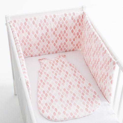 Ochraniacz do łóżeczka z nadrukiem w listki, z bawełnianego perkalu marki R mini