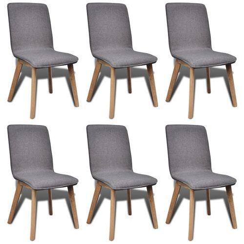 vidaXL Krzesła jadalniane z dębową ramą, 6 szt, materiał, ciemnoszare (8718475891192)